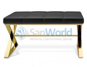 Bench банкетка для ванной золотая с мягким кожаным сиденьем