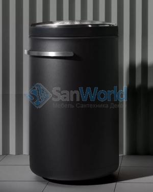 Корзина для белья металлическая с крышкой и роликами Чёрная