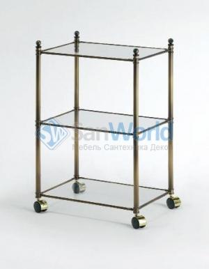 Windsor PomdOr этажерка напольная стеклянная тройная декор состаренная бронза