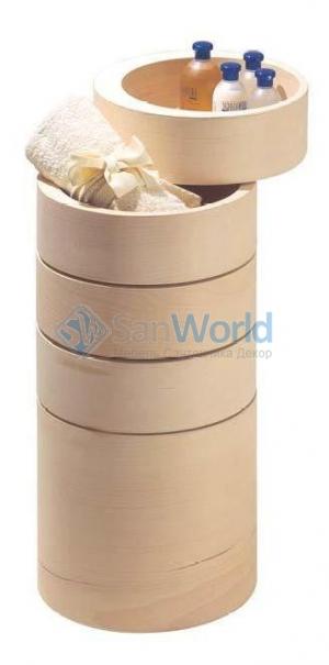 Этажерка для ванной и интерьера Buk деревянная круглая
