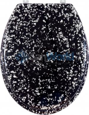 Glitter чёрное сиденье для унитаза с микролифтом крышки декор Фольга