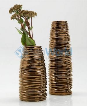 Ваза Laurence керамическая декор Бронза