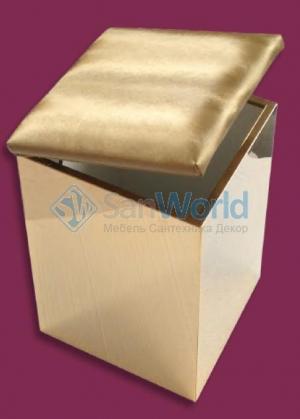 Пуф с корзиной для белья с мягким сиденьем высокий Золотой
