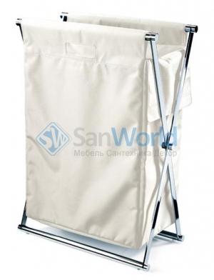Decor Walther Корзина для белья CROSS складная с текстильным мешком Белая