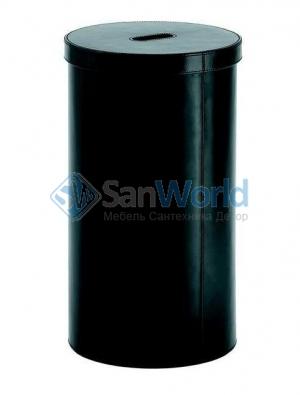Кожаная корзина для белья с крышкой чёрная круглая Pellecont