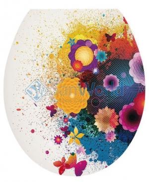 FLEUR сиденье для унитаза с микролифтом 3-D декор цветы и бабочки