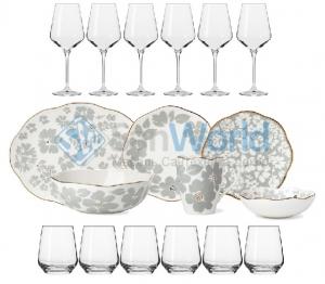 Сервиз столовый 6 персон/26 предметов Лепестки + Подарок (6 бокалов для бел.вина 390 мл. и 6 стаканов для воды 400 мл.)