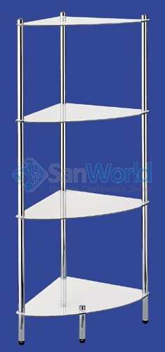 MAXIMO Nicol этажерка стеклянная для ванной угловая 4 полки