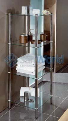 MAXIMO Nicol этажерка стеклянная для ванной 4 полки квадратная