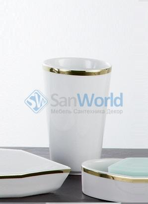 Sofia Nicol аксессуары для ванной фарфоровые настольные золотые Стакан