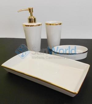 Sofia Nicol аксессуары для ванной настольные золотые фарфоровые комплект