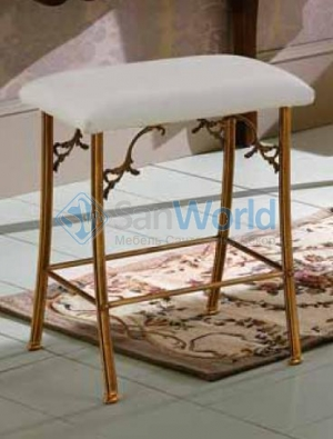 Табурет для ванной Versail бронзовый с мягким кожаным сиденьем белый