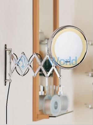 ANNA Nicol косметическое зеркало с неоновой подсветкой увеличением 1х5 и удлинённым шарниром гармошка двойная