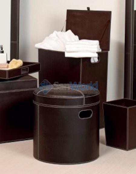 442327452245 Пуф с мягким сиденьем экокожа коричневый круглый с корзиной для белья